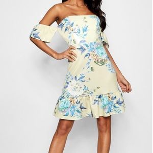 Floral off the shoulder grill hem bodyicon dress